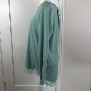 LC Lauren Conrad Sweaters - LC Lauren Conrad green metallic lace sweater